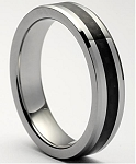 Acacia Black Tungsten Carbon Fiber Ring 5mm
