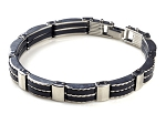 Rubber Mens Stainless Steel Chain Bracelet