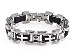 Black Stainless Steel with Crosses Bracelet