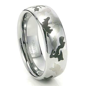 Camo aka Camouflage Tungsten Ring 8mm