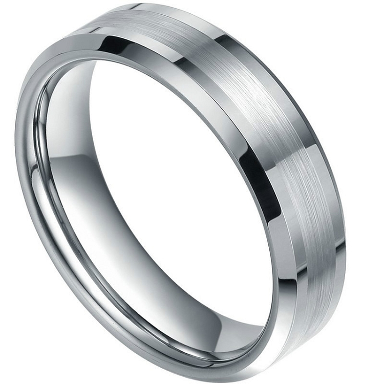 Mm Tungsten Ring With  Stones