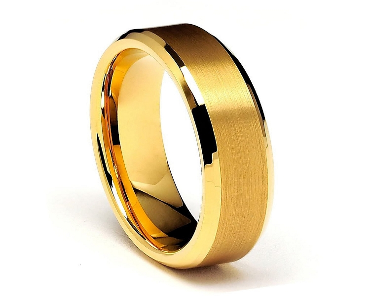 Gold Beveled Tungsten Rings 8mm