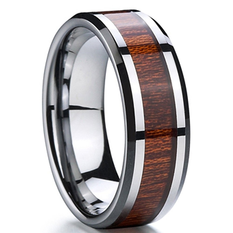 Max Tungsten Carbide Wood Inlay 8mm Tungsten Rings