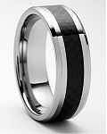 Acacia Black Tungsten Carbon Fiber Ring 8mm