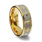 Angel Gold Tungsten Ring with Crosses 8mm
