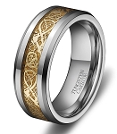 Gold Dragon Lucky 8 Beveled Tungsten Carbide Ring 8mm