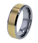 Mia Gold Beveled 8mm Checkerboard Tungsten Ring