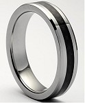 Black Tungsten Carbon Fiber Ring 5mm