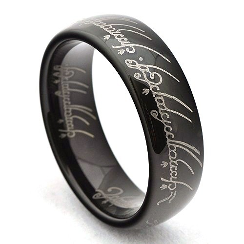 Black Tungsten Carbide Lord Of The Rings Ring