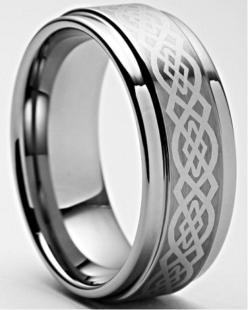 Keon Celtic Tungsten Wedding Bands.  Matching Celtic Tungsten Rings 8mm and 9mm.