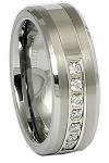 Pretse 8mm Tungsten Carbide Beveled Ring with Stones