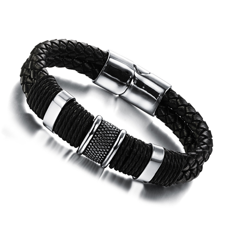 Genuine Leather Bracelet Men Stainless Steel Braid With Magnetic Buckle