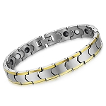 Solid Tungsten Bracelet with Gold Trim