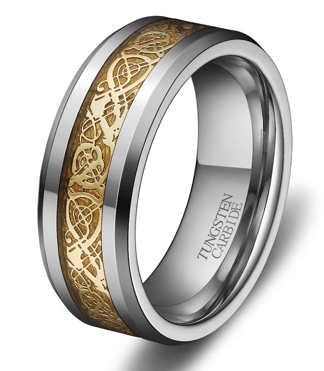 Tungsten Ring Black And Gold