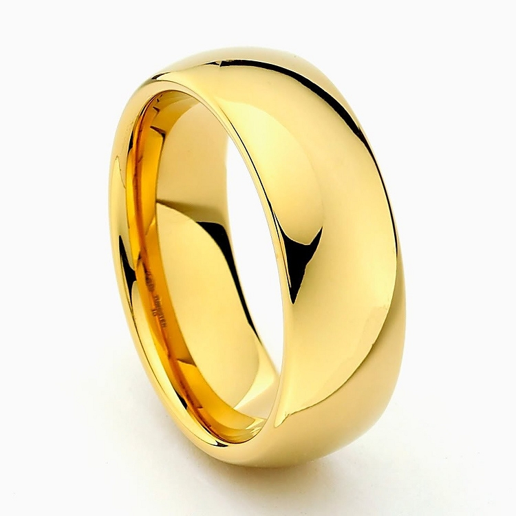 Gold Clic Tungsten Carbide Ring 8mm