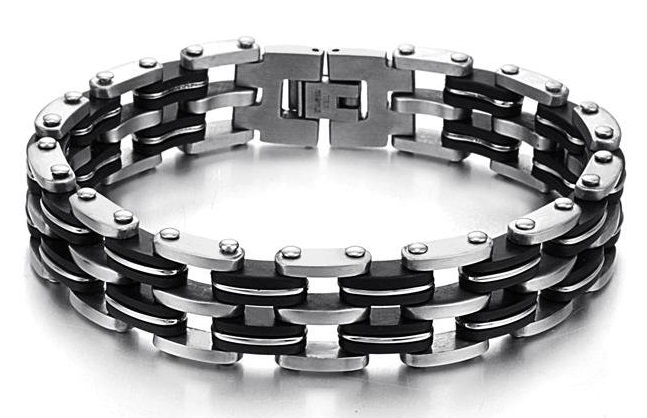 Home Bracelets Stainless Steel And Black Rubber Bracelet