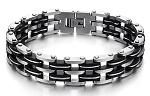 Stainless Steel and Black Rubber Bracelet