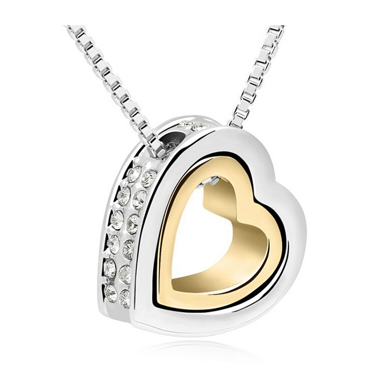 7ccb5e033dcf Heart Necklace Women Silver   18K Gold Plated Jewelry Crystal ...