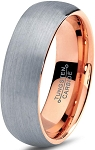 Brushed Silver and Rose Gold 6mm Tungsten Ring