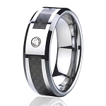Black Tungsten Carbon Fiber Ring with Stone 8mm