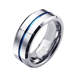 Mia Silver and Blue 8mm Tungsten Carbide Ring