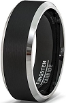 Genno Black Beveled Tungsten Carbide Ring 8mm Matte Finish