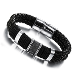 Genuine Leather Bracelet with  Stainless Steel