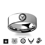 Army Navy Coast Guard Marines Military Tungsten Ring 8mm
