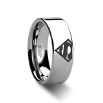 Superman Beveled Tungsten Ring 8mm