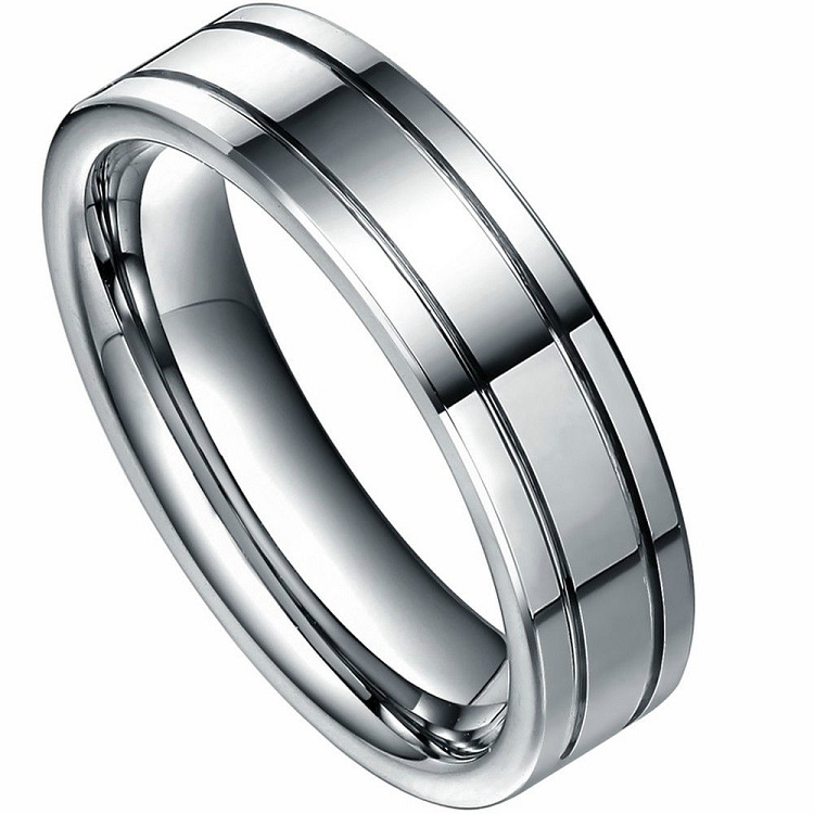 Wedding Ring Bands >> Xenos 6mm Tungsten Carbide Ring | 6mm Polished Tungsten Ring with Two Grooves