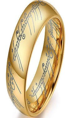 Gold Lord of the Rings Tungsten Ring 6mm