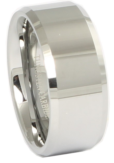 Nicollo Beveled Polished Tungsten Ring 10mm
