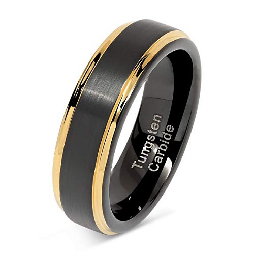 Black and Gold Satin Finish Tungsten Ring 6mm