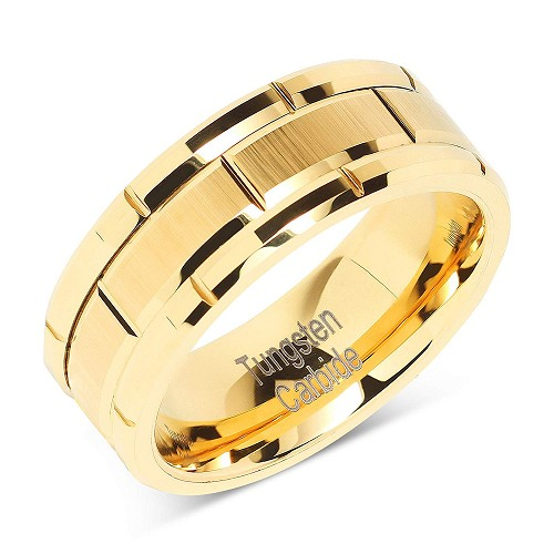 Gold Multi Beveled Brick 8mm Tungsten Ring