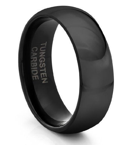 Black Classic Domed 8mm Classic Tungsten Ring