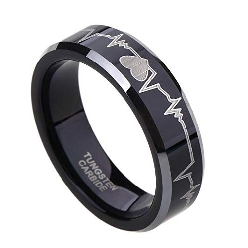 EKG Black Beveled Tungsten ring 8mm