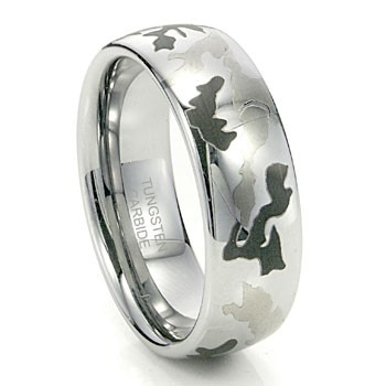 Camo Tungsten Domed Ring 8mm