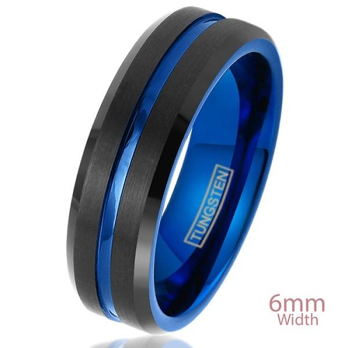 Cypress Blue and Black Beveled Tungsten Ring 6mm