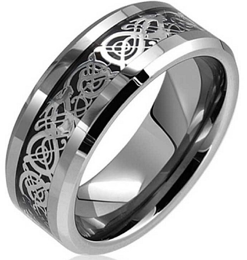 Dragon Lucky 8 Beveled Tungsten Carbide Ring 8mm