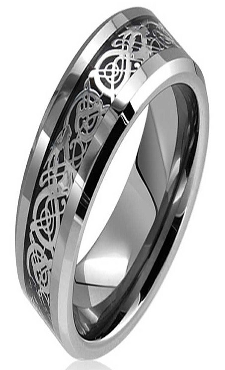 Dragon Lucky 8 Beveled Tungsten Carbide Ring 5mm