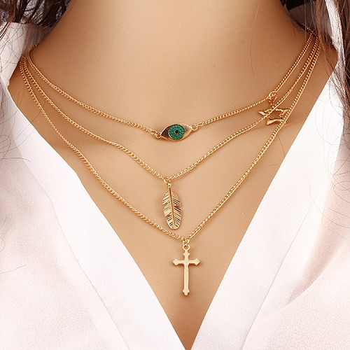 Gold Cross, Leaf & Eye Necklace