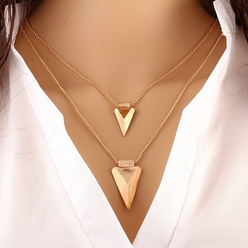 Gold Triangle Vintage Necklace