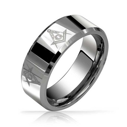 Masonic 8mm Tungsten Carbide Beveled Ring