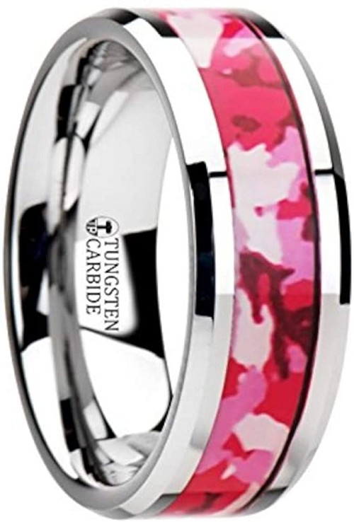 Pink and White Tungsten Ring