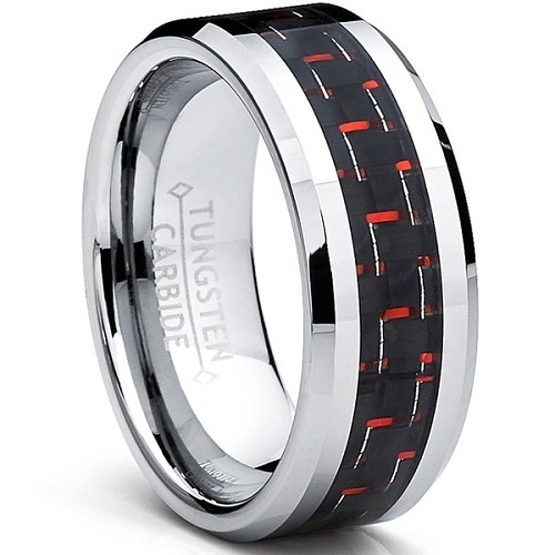 Red and Black 8mm Tungsten Carbide Band