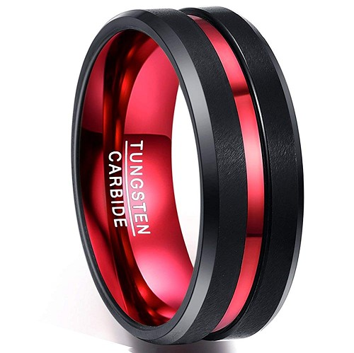 Black and Red Beveled Firefighter Tungsten Band 8mm