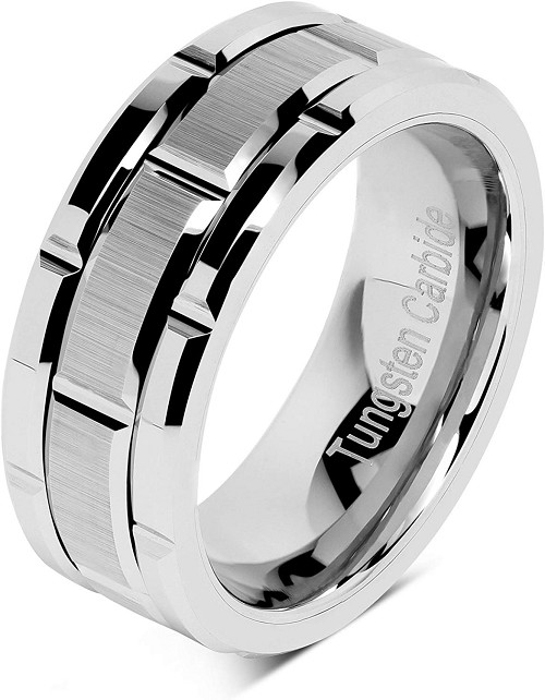 Silver Brick 8mm Tungsten Carbide Ring