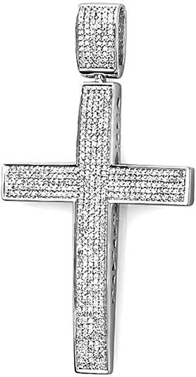1.00 Carat (ctw) Round Diamond Cross Pendant 1 CT (Silver Chain Included), Sterling Silver